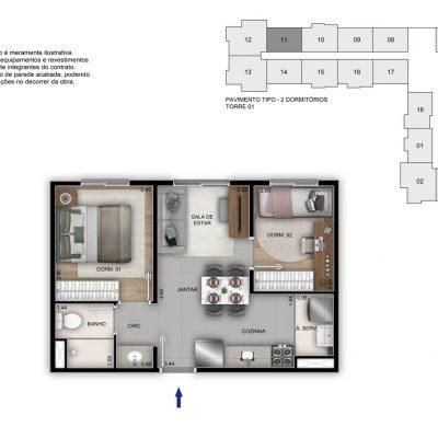 Mérito Vila Maria - Planta 34m² - 2 dorms