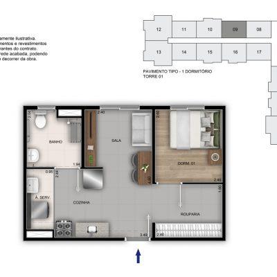 Mérito Vila Maria - Planta 35m² - 1 dorm PCD