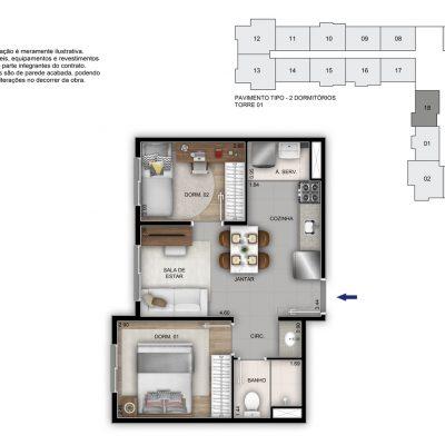 Mérito Vila Maria - Planta 37m² - 2 dorms