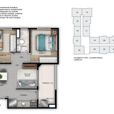 Mérito Vila Maria - Planta 41m² - 2 dorms