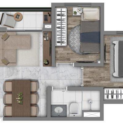 Vivaz Prime Belém - Planta 38m² - Comfort