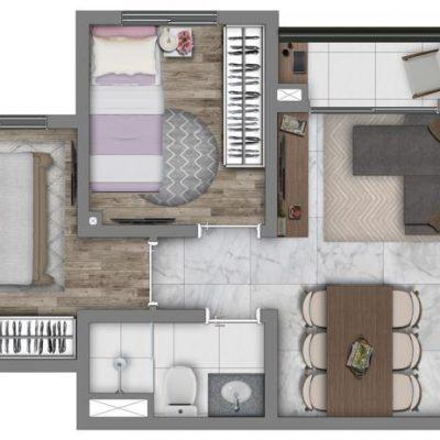 Vivaz Prime Belém - Planta 38m² - Comfort com varanda