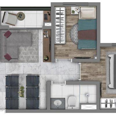 Vivaz Prime Belém - Planta 38m² - Comfort finais 9 e 10