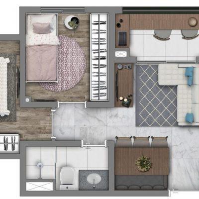 Vivaz Prime Belém - Planta 41m² - Comfort max