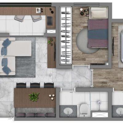 Vivaz Prime Belém - Planta 48m² - Comfort max com suíte