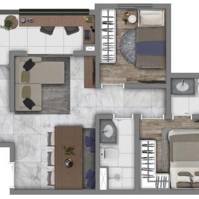 Vivaz Prime Belém - Planta 48m² - Comfort max plus com suíte finais 11 e 12