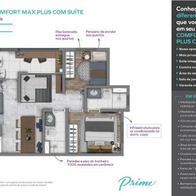 Vivaz Prime Laguna - Planta 44m² comfort max plus com suite